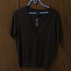 Ann Taylor short sleeve brown cardigan, NWT, sz PL